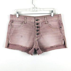 Free People High Rise Button Fly Jean Shorts 28